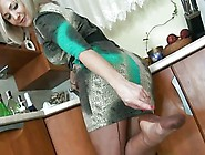 Alla's Nylon Footjob And Cumming On Her Shoe