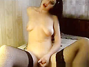 Busty Fishnet Ladyboy Masturbation Show