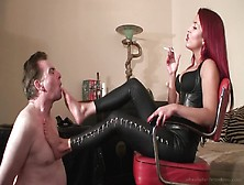 Smoking Redhead Foot Domme Gets Toes Sucked