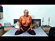 Hot Blonde Bbw With Huge Tits Fucks Dildo