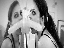 Sophie Dee Sticks A Dildo To A Mirror And Sucks It Wildly