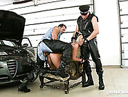 Ellen Peterson Licks Dude's Boots While Another One Is Drilled H