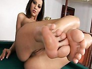 Striking Beauty Lies On The Pool Table And Plays With Her Lovely