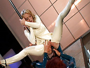 Alluring Blond Stripper Rides Strap On Of Horny Domina In Cowgir