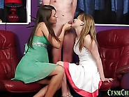 Two Cfnm Babes Suck Young Dude Dick Until Cumload