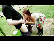 Young Girl And Old Farm Hand Make Love Outdoors