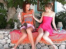 Lesbos Natasha Shy And Beata Kissing With Lust Outdoor