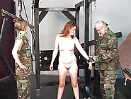 Young Bdsm Brunette Soldier Girl Is Restrained And Tortured In D
