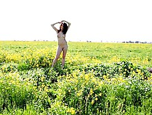 Amateur Chubby Teen In The Flower Field Getting Naked