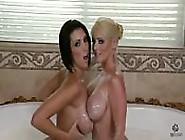 Big Breasted Lesbians Bathing In Milk.