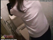 Voyeur Of Horny Asian Teen In Public Toilet