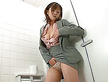 Foxy Japanese Cowgirl Fingers Her Pussy While Masturbating In Th