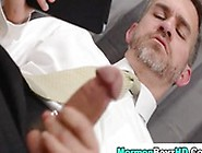 Classy Mature Office Man Knows How To Pass The Time Waiting For