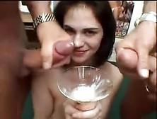 Sexy Cum Bucket Drinks Lots Of Loads