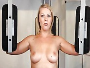 Blonde Does Naked Gym Workout