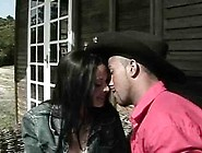 Horny Couple Is Having Sex On The Porch Of Their Countryside Hou