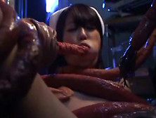 Japanese Nurse Gets Giant Snake Cock To Pound Her Holes