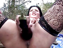 Chubby Chick In Stockings Masturbates While Being In A Forest