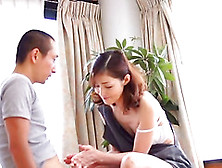Jerked Off By A Hot Japanese Milf After Pinching Her Tits
