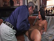 A Girl With A Nice Rack Is Getting Fucked Hard On The Sofa