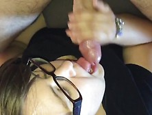 Nerdy Chick With Glasses Gives A Fantastic Blowjob