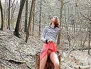 Peach In The Forest,  Bts Video Of Autumn On A Public Nudity Phot