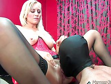 Blonde Milf With Saggy Boobs,  Harsh Pussy Sex With Her Male Slave