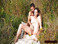 Long,  Steady Outdoor Squirt From Hairy Gaping-Cunt Nature Milf; Ravishing Goldenrod Flowers!