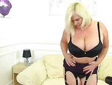 Blonde Bbw Mature Lacey Pleasures Her Pussy With A Dildo