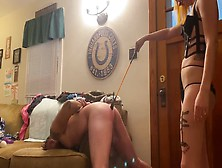 Hotwifesquirter Spanks Cuck-Old Man.