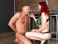 Tattooed Redhead With Huge Boobs Spanking A Stranger