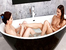 Two Playful Young Models Alya Stark And Mia Evans Enjoy Lesbian Sex