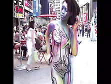 Times Square,  Topless And Bottomless Painted Nudes In Public