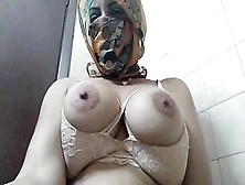 Real Arab In Niqab Hijab Mom Dildo Cunt Squirting,  Titjob And Then Masturbating Her Muslim Twat To Extreme Squirting Cumming