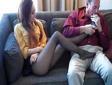Cute Asian Babe Seduces A Dude With Her Nylon Stockings And Gives Him A Footjob On The Sofa