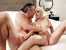Aspen Romanoff Jerks Mick's Big Dick While He Plays With Her Pus