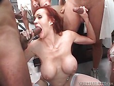 Redhead Mom With Big Tits Sucks Cocks In Blowbang