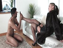 Britifemme Fatale Spanking Then Heels And Nylon Worship While We