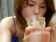 Pretty Oriental Teen Has Her Skillful Hands Taking A Fat Rod To