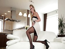 Tall Blonde With High Heels Is Getting Her Sexy Lingerie Off