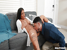Guy Licks Her Trimmed Cunt Big Time In Advance To Fucking Her The Hard Way