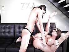 Pissed Off Brunette Hazing Shy Sorority Girl With A Strap On