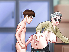 Cartoon Dude Fucks Chubby Granny