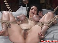Cumsprayed Restrained Slave Gets Caned