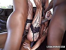 Luna Lovely Is Wearing Fishnet Stockings While Getting Stuffed With Many Black Cocks In A Row