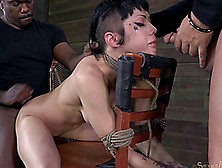 Brunette Tied To A Chair Spreads Her Legs For Two Hard Dicks