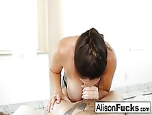 Ravishing Brunette,  Alison Tyler Gave A Blowjob And A Titjob To