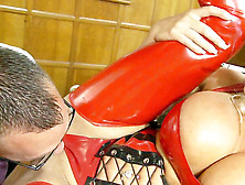 Gorgeous Michelle In Crimson Latex Corset Has Geek Lick Her Vagina