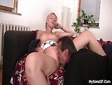 Old Stepdad Licks And Fucks Son's Gf Shaved Pussy From Behind