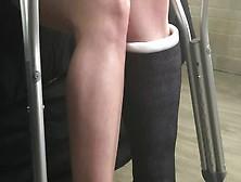 fetish leg woman Casted crutch